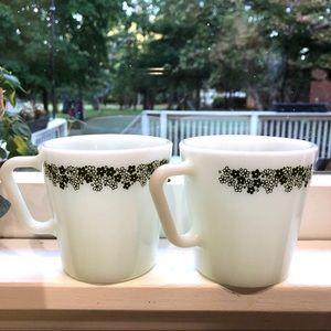Vintage Pyrex Two Daisy Milk Glass Coffee Mugs